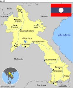 mission humanitaire et volontariat humanitaire au laos carte