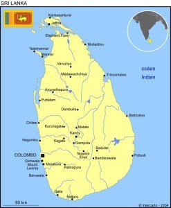 volontariat humanitaire et mission humanitaire au Sri Lanka carte